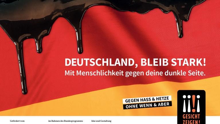 """Gesicht Zeigen! Kampagnenmotiv """"Deutschland, bleib stark!"""
