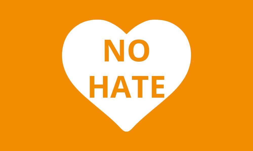 Herz mit text No Hate - Orange für Gesicht Zeigen! Für ein weltoffenes Deutschland e,V.
