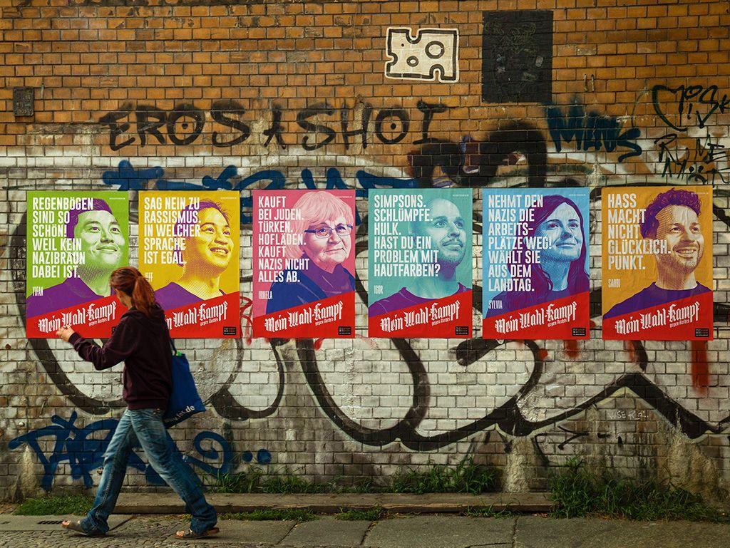 MeinWahl-Kampf gegen Rechts Plakate im Straßenbild