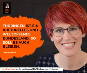 Biathletin Kati Wilhelm zeigt Gesicht vor der Landtagswhal in Thüringen